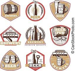 型, ビール, セット, 紋章, カラフルである