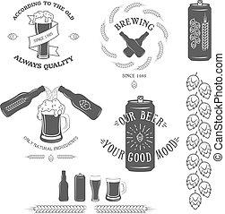 型, ビール, 紋章, elements., デザイン