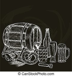 型, ビール, 黒い背景, イラスト