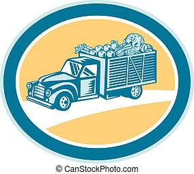 型, ピックアップ トラック, 出産, 収穫, レトロ