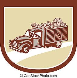 型, ピックアップ トラック, 出産, 収穫, 保護, レトロ
