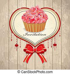 型, フレーム, バレンタイン, cupcake