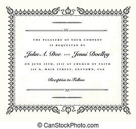 型, フレーム, ベクトル, 結婚式の招待