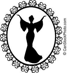型, フレーム, 刻まれた, 花型女性歌手