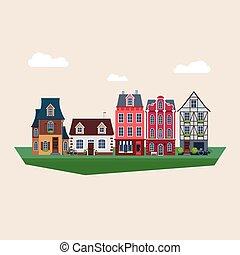 型, ベクトル, 古い, イラスト, 家