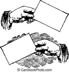 型, ベクトル, 名刺, サイン