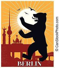 型, ベルリン, 旅行, ポスター