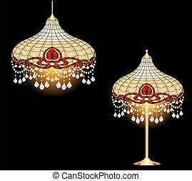 型, ペンダント, 水晶, ランプ, シャンデリア, テーブル