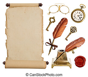 型, ペーパー巻き物, そして, 骨董品, 付属品