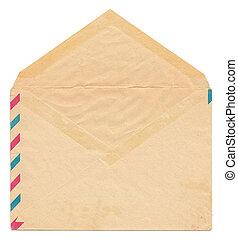 型, ペーパー, 封筒, 背中, 側