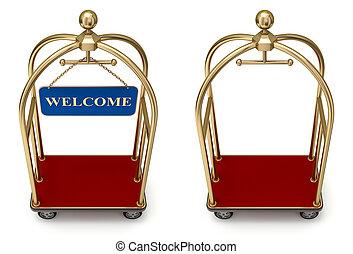 型, ホテル, カート, 歓迎, 板