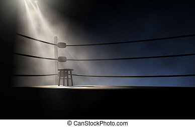 型, ボクシング, 腰掛け, コーナー