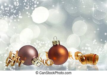 型, ボール, クリスマス, 背景