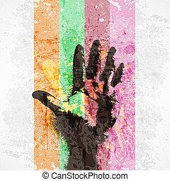 型, ポスター, handprint