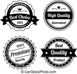 型, ラベル, 優れた, 品質, コレクション