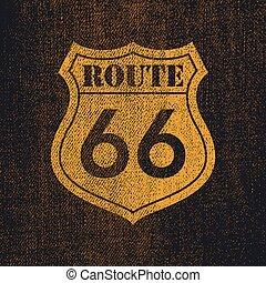 型, ルート, -, イラスト, roadsign, 66