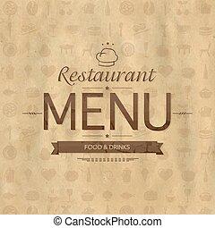 型, レストラン, デザイン, メニュー