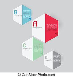 型, レトロ, カード, infographics
