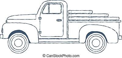 型, レトロ, ピックアップ トラック, 隔離された, 白, バックグラウンド。, ベクトル