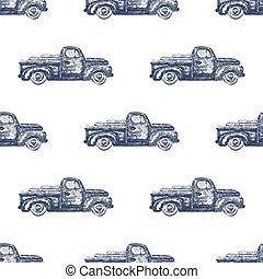 型, レトロ, 小型トラック, seamless, パターン, バックグラウンド。, ベクトル