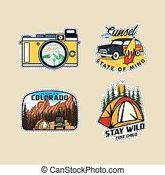 型, ロゴ, collection., 夏, set., パッチ, 屋外, labels., 引かれる, ステッカー, 山, designs., 休暇, vector., 手, バッジ, logotypes, ハイキング, emblems., キャンプ, 株