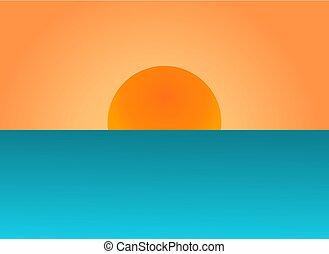 型, 上に, ポスター, バックグラウンド。, 日没, sea., 太陽