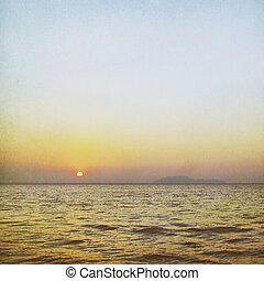 型, 上に, 背景, 海, 日の出
