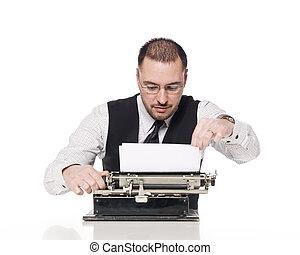 型, 人, タイプライター, 執筆