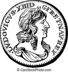 型, 保護, 銀, engraving.