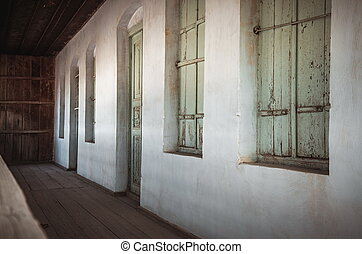 型, 入口, 古い, 家