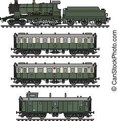 型, 列車, 緑, 蒸気