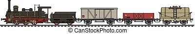 型, 列車, 蒸気, 貨物