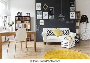 型, 創造的, 部屋, 家具