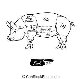 型, 印刷である, 肉屋, アメリカ人, 切口, pork., 案, hand-drawn