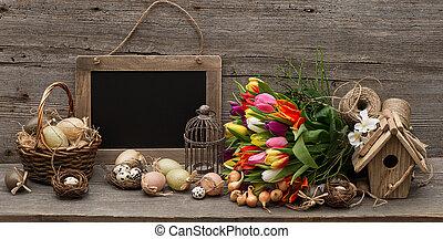 型, 卵, 装飾, チューリップ, 花, イースター