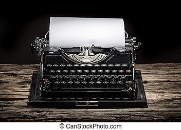 型, 古い, タイプライター