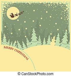 型, 夜, 背景, テキスト, クリスマス, 風景