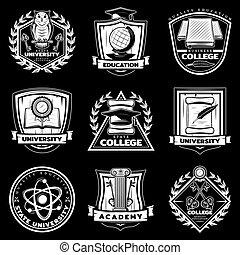型, 大学, そして, 大学, ラベル, セット