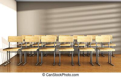 型, 大学, 教室, ∥で∥, 方程式, 解決, 上に, 黒板, 3d, render