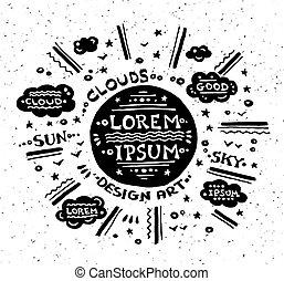 型, 太陽, グランジ, イラスト, ラベル