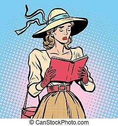 型, 女の子の読書, 本