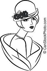 型, 女の子, ファッション, hat.