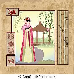 型, 女の子, scrapbooking., アジア人, パターン