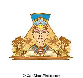 型, 女王, 旗, エジプト人