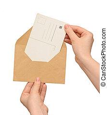 型, 封筒, 黄色, 手, ブランク, カード