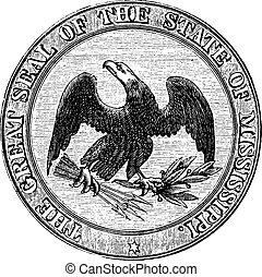 型, 州, ミシシッピ, engraving., シール