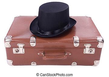 型, 帽子, スーツケース