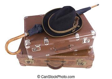 型, 帽子, 傘, 2, スーツケース