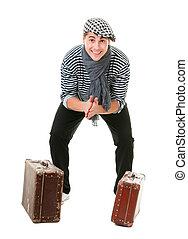 型, 幸せ, 旅行者, 幸運, スーツケース