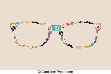型, 情報通, glasses., アイコン